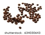 roasted coffee beans isolated... | Shutterstock . vector #634030643