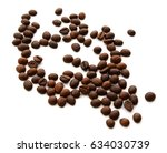roasted coffee beans isolated... | Shutterstock . vector #634030739