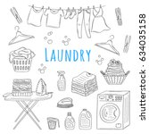laundry service hand drawn... | Shutterstock .eps vector #634035158
