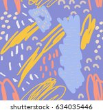 scribbles and doodles with dots ... | Shutterstock .eps vector #634035446