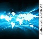 world map on a technological... | Shutterstock . vector #634037510