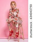 fashion photo of a beautiful... | Shutterstock . vector #634043750