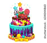 happy birthday cake. bright... | Shutterstock . vector #634044860