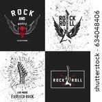 hand drawn rock festival poster.... | Shutterstock .eps vector #634048406