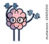 icon adorable kawaii brain... | Shutterstock .eps vector #634052543