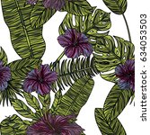 seamless pattern with hibiscus... | Shutterstock .eps vector #634053503