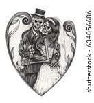 Art Wedding Skulls Day Of The...