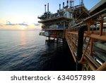 offshore construction platform... | Shutterstock . vector #634057898
