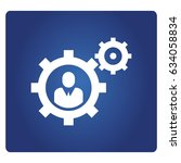 people and gears icon in blue... | Shutterstock .eps vector #634058834