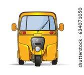 yellow color tuk tuk or three... | Shutterstock .eps vector #634071050