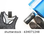 flat lay of cellphone with... | Shutterstock . vector #634071248