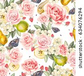 pattern with watercolor... | Shutterstock . vector #634076294