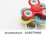 colourful fidget finger spinner ... | Shutterstock . vector #634079480