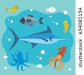 vector underwater life. flat... | Shutterstock .eps vector #634081154