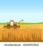 grain harvester combine work in ... | Shutterstock .eps vector #634092563