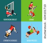 four square gym people isolated ... | Shutterstock .eps vector #634101710