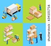 warehouse isometric... | Shutterstock .eps vector #634101716
