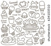 set of cute bakery  pastry and...   Shutterstock .eps vector #634103510