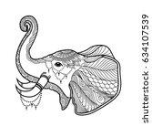 elephant boho illustration in... | Shutterstock .eps vector #634107539