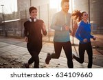 happy friends fitness training... | Shutterstock . vector #634109660