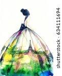 fashion illustration. elegant... | Shutterstock . vector #634111694
