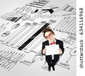top view of funny businessman...   Shutterstock . vector #634116968