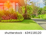modern house with beautiful... | Shutterstock . vector #634118120