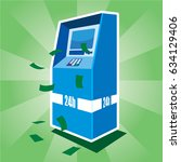 atm with money flying around | Shutterstock .eps vector #634129406