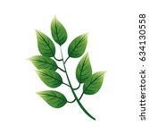 green textured leaf icon image | Shutterstock .eps vector #634130558