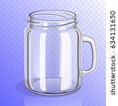 empty glass jar with handle....   Shutterstock .eps vector #634131650