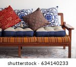 wooden vintage sofa with asian... | Shutterstock . vector #634140233