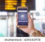 online check in with mobile... | Shutterstock . vector #634142978
