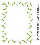 christmas holly  frame | Shutterstock .eps vector #634158830