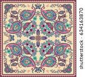 design for square pocket  shawl ...   Shutterstock .eps vector #634163870