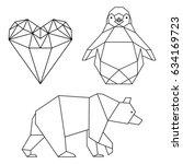 geometrical shaped heart ... | Shutterstock .eps vector #634169723