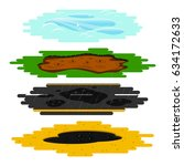 puddles of different types.... | Shutterstock .eps vector #634172633