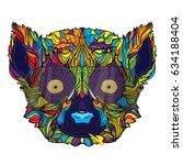 lemur ornament face with... | Shutterstock .eps vector #634188404