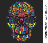 vector black tattoo skull... | Shutterstock .eps vector #634188614