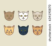 cat heads vector colored... | Shutterstock .eps vector #634190870
