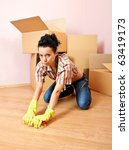 tired young woman with yellow... | Shutterstock . vector #63419173