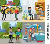 people and automobile square...   Shutterstock .eps vector #634201418