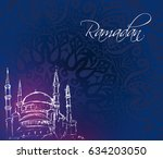 evening mosque tower image with ... | Shutterstock .eps vector #634203050