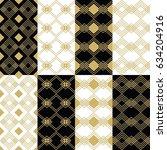 golden modern art deco square... | Shutterstock .eps vector #634204916