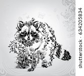 silhouette of a raccoon from... | Shutterstock .eps vector #634205834