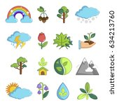 nature icons set symbols.... | Shutterstock . vector #634213760