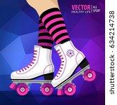 roller girl. quad skates... | Shutterstock .eps vector #634214738