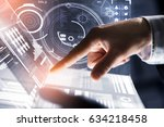businessman hand touching with... | Shutterstock . vector #634218458