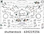 secret garden wedding clip art  ... | Shutterstock .eps vector #634219256