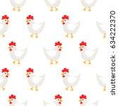 white hen rural seamless vector ... | Shutterstock .eps vector #634222370