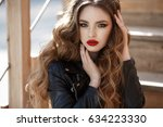 lifestyle fashion portrait of... | Shutterstock . vector #634223330